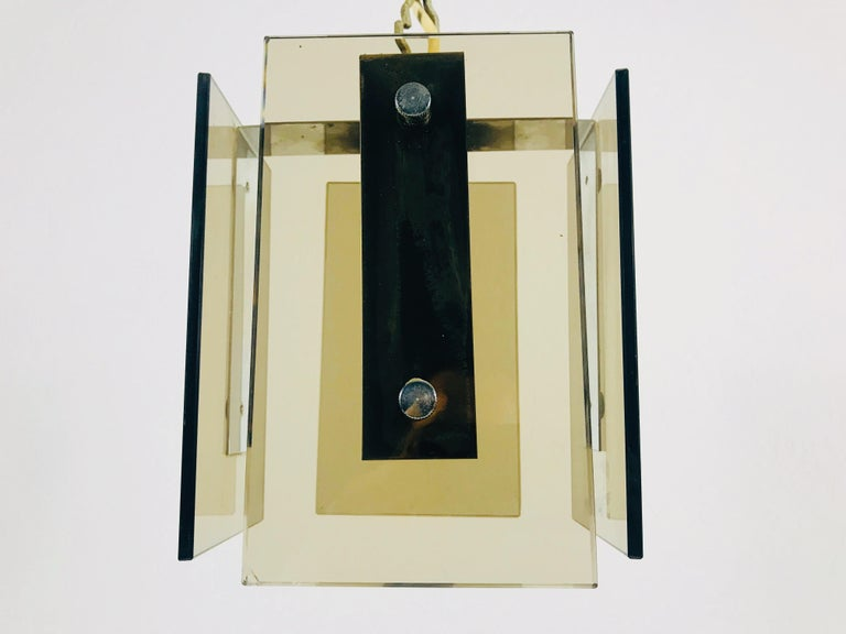 Square Glass Ceiling Light by Veca, 1970s, Italy In Good Condition For Sale In Hagenbach, DE