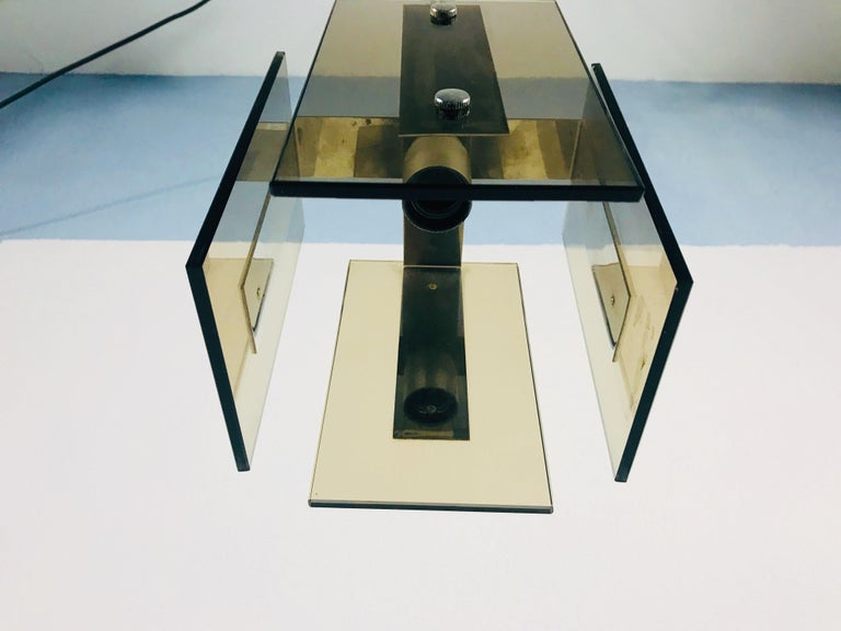 Square Glass Ceiling Light by Veca, 1970s, Italy For Sale 1