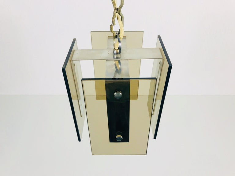Square Glass Ceiling Light by Veca, 1970s, Italy For Sale 2
