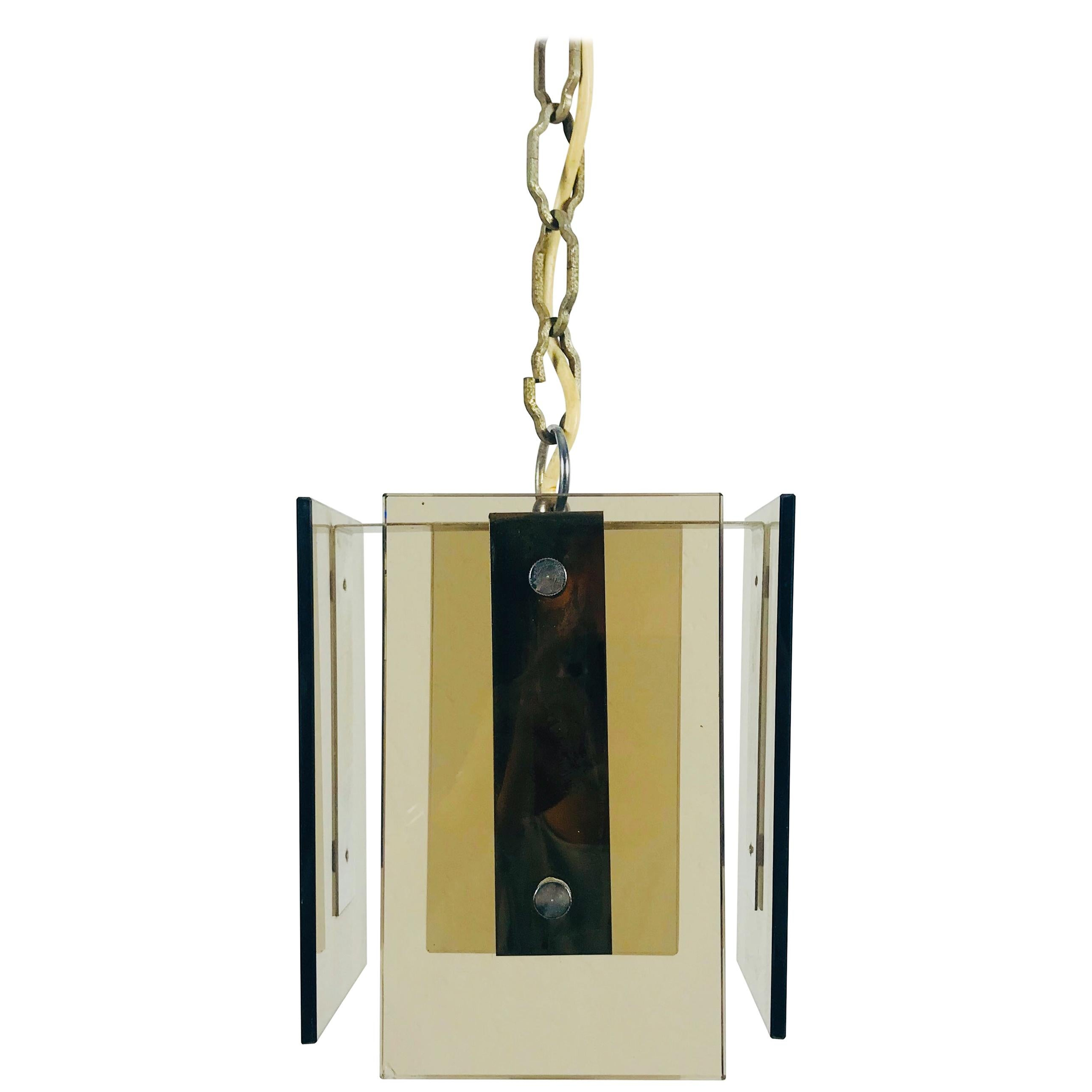 Square Glass Ceiling Light by Veca, 1970s, Italy