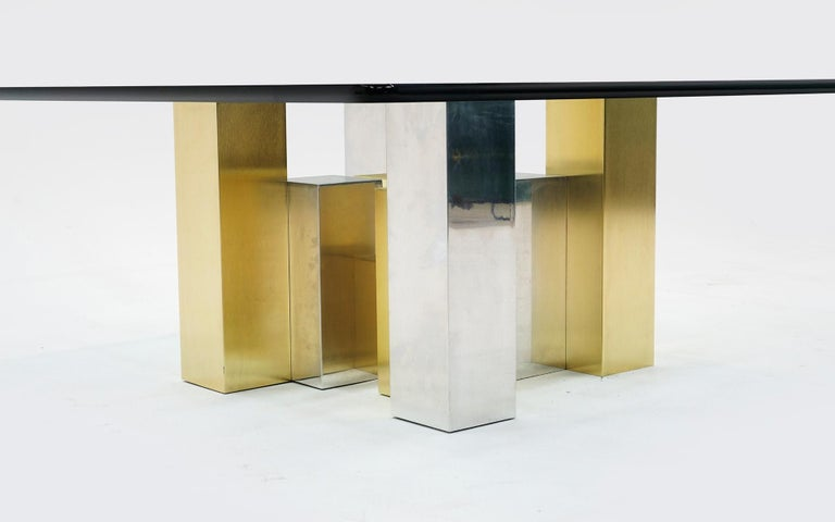 American Square Glass Coffee Table with Brushed Brass and Chrome Base, Paul Evans Style For Sale