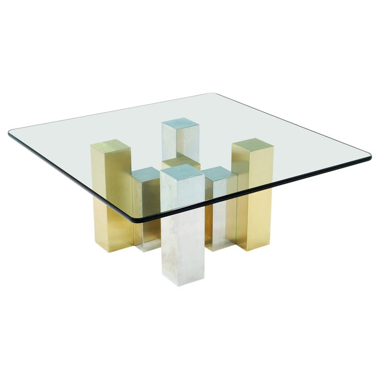 Square Glass Coffee Table with Brushed Brass and Chrome Base, Paul Evans Style For Sale
