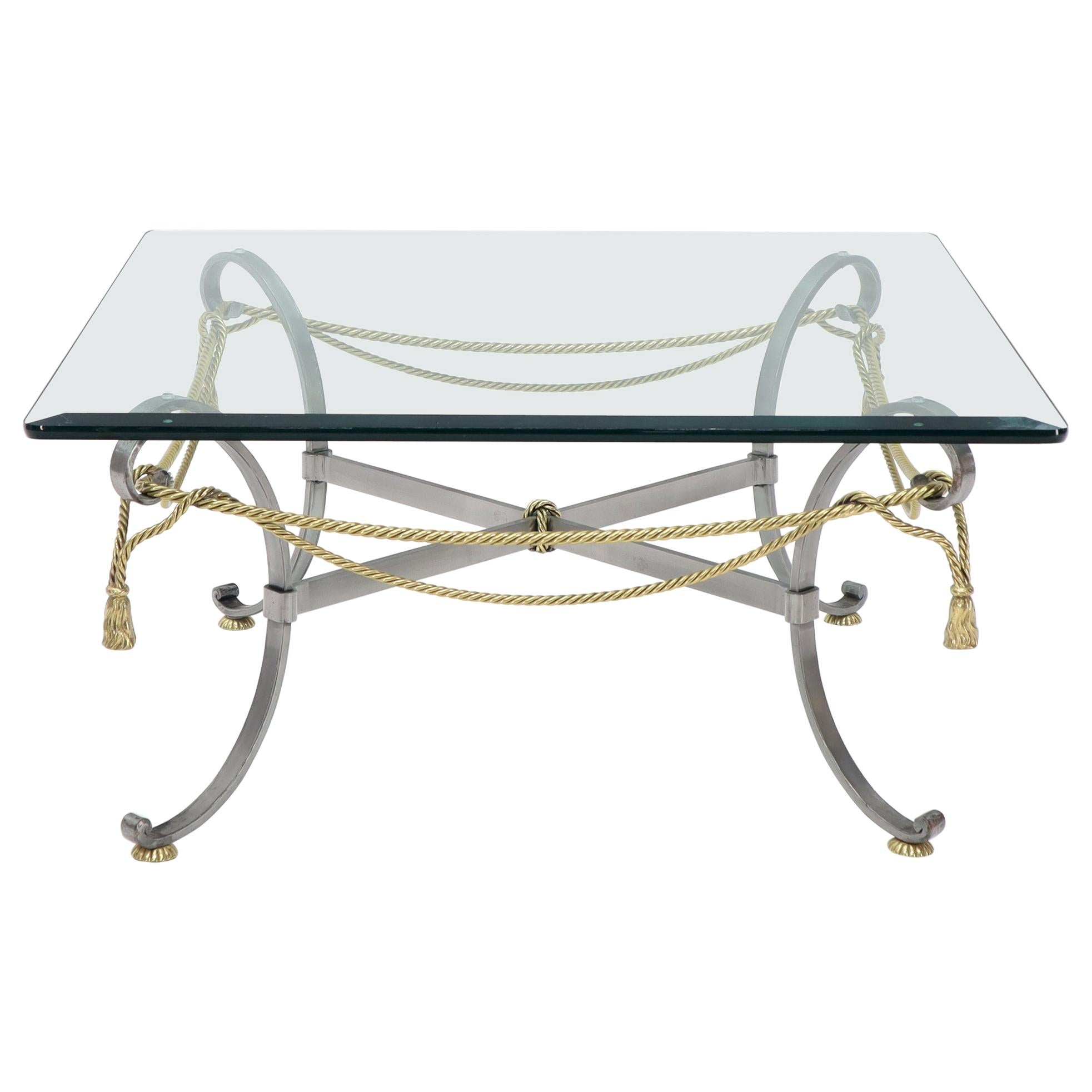 Square Glass Top Brass Rope and Tassel Decorated Coffee Table