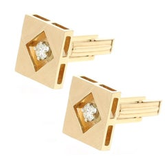 Square Gold and Diamond Cufflinks, 14 Karat Yellow Gold