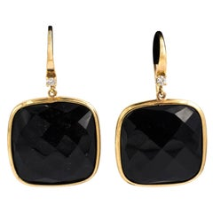 Square Gold and Onyx Earrings
