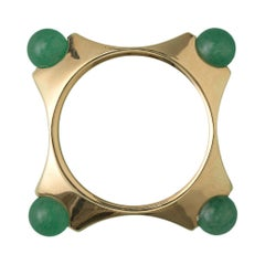 Square Gold Ring with Four Aventurine Balls