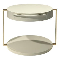 Square Gold Support Table with One Drawer in and Gold Metal by Luísa Peixoto