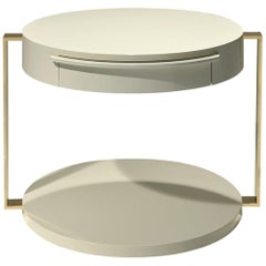 Square Gold Support Table in Lacquer and Gold Metal by Luísa Peixoto