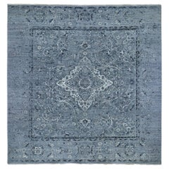 Square Gray Broken Persian Erased Design Pure Silk with Textured Wool Hand