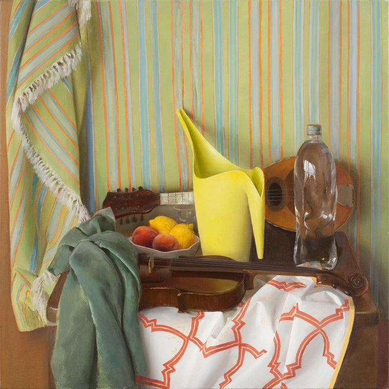 This still life painting on canvas captures a variety of objects. Among the objects depicted are: Guitar, violin, bowl of peaches and lemons, Ikea pitcher, bottled water, and a printed fabric background. These masterfully painted objects create a