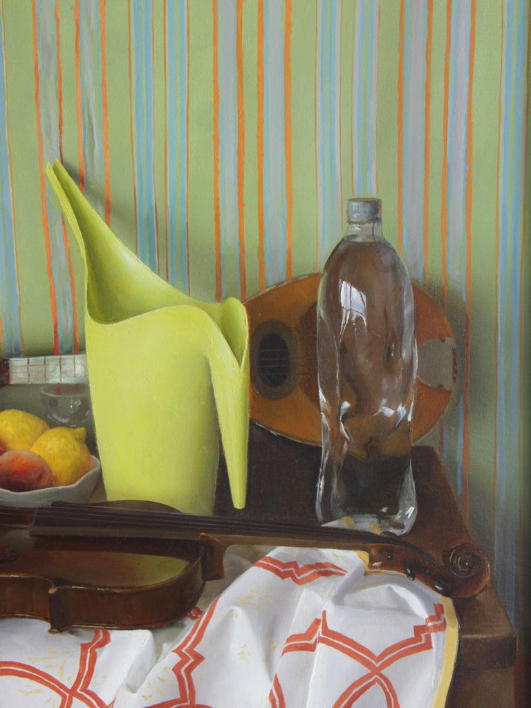 Mid-Century Modern Square Green Still Life with Ikea Pitcher, Original Oil Painting, Mixed Objects For Sale