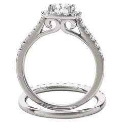 Square Halo Art Deco GIA White Diamond Engagement Ring Set 1.50 Carat