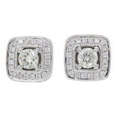 Square Halo Diamond Stud Earrings
