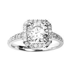 Square Halo Engagement Ring with Round Cut Center Diamond in White Gold