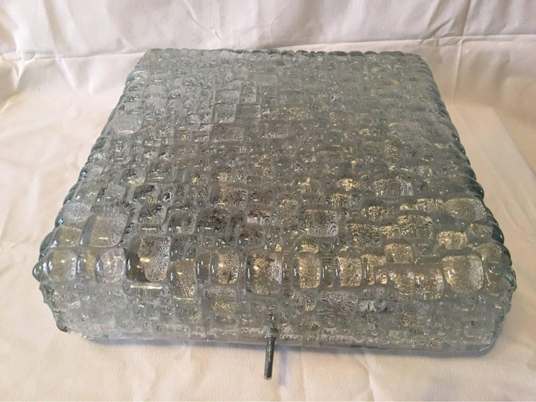 Square Ice Glass Flush Mount Lamp, Hoffmeister Leuchten, Germany In Fair Condition For Sale In Frisco, TX