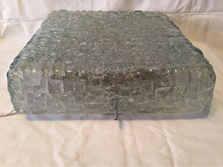 Square Ice Glass Flush Mount Lamp, Hoffmeister Leuchten, Germany For Sale 2