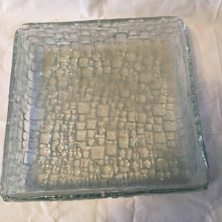 Square Ice Glass Flush Mount Lamp, Hoffmeister Leuchten, Germany For Sale 5