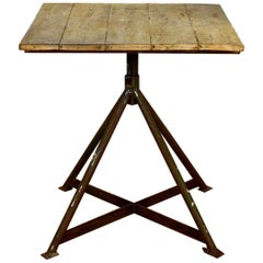 Square Industrial Plank and Metal Quadpod Table, 20th Century