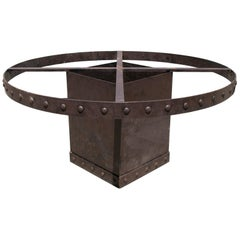 Square Iron Table Base with Ornamental Border Ideal for Round Table Top