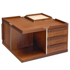 Square Italian Coffee Table with Bar by Fiarm, 1970s