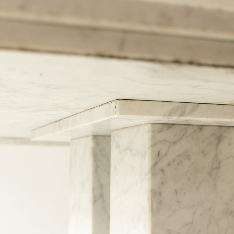 Mid-Century Modern Square Italian Dining Table in Carrara Marble with Four Massive Columns For Sale