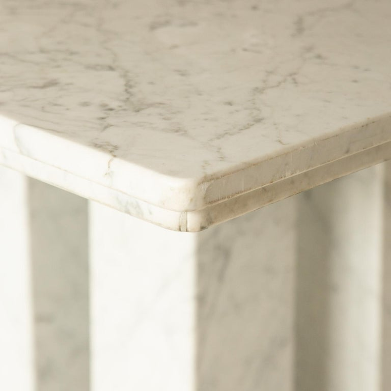 Square Italian Dining Table in Carrara Marble with Four Massive Columns For Sale 1