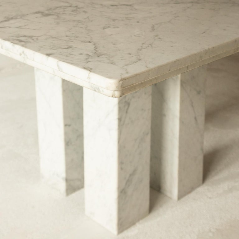 Square Italian Dining Table in Carrara Marble with Four Massive Columns For Sale 3