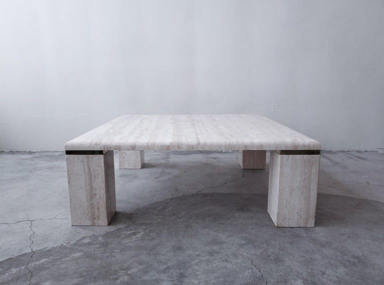 Square Italian Travertine Coffee Table In Good Condition For Sale In Las Vegas, NV