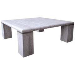 Square Italian Travertine Coffee Table
