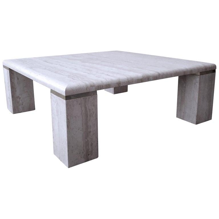 Square Italian Travertine Coffee Table For Sale