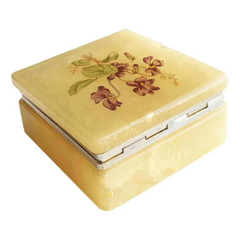 Square Italian Yellow Floral Alabaster Trinket Box, Italy