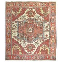 Square Ivory Pink Rust Antique Persian Serapi Carpet