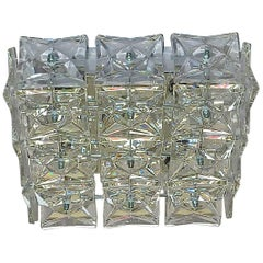 Square Kinkeldey Flush Mount Ceiling Wall Lamp Chrome Crystal Glass 1960 Germany