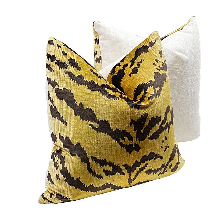 Neoclassical Square Velvet Le Tigre Down Fill Pillow in the Manner of Scalamandre For Sale