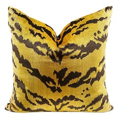 Square Velvet Le Tigre Down Fill Pillow in the Manner of Scalamandre