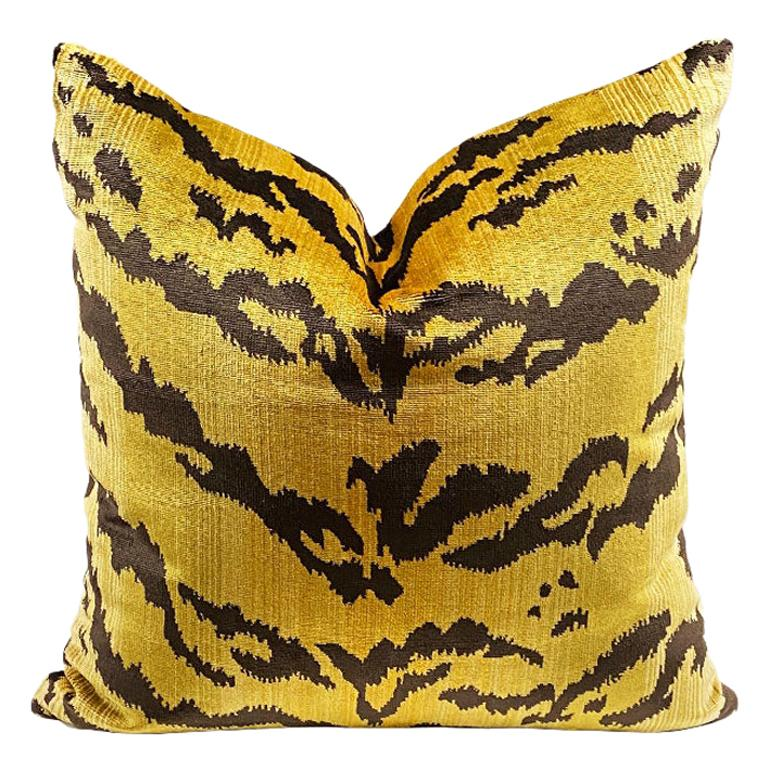 Square Velvet Le Tigre Down Fill Pillow in the Manner of Scalamandre For Sale