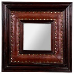 Square Leather and Wood Mirror with Brass Studs