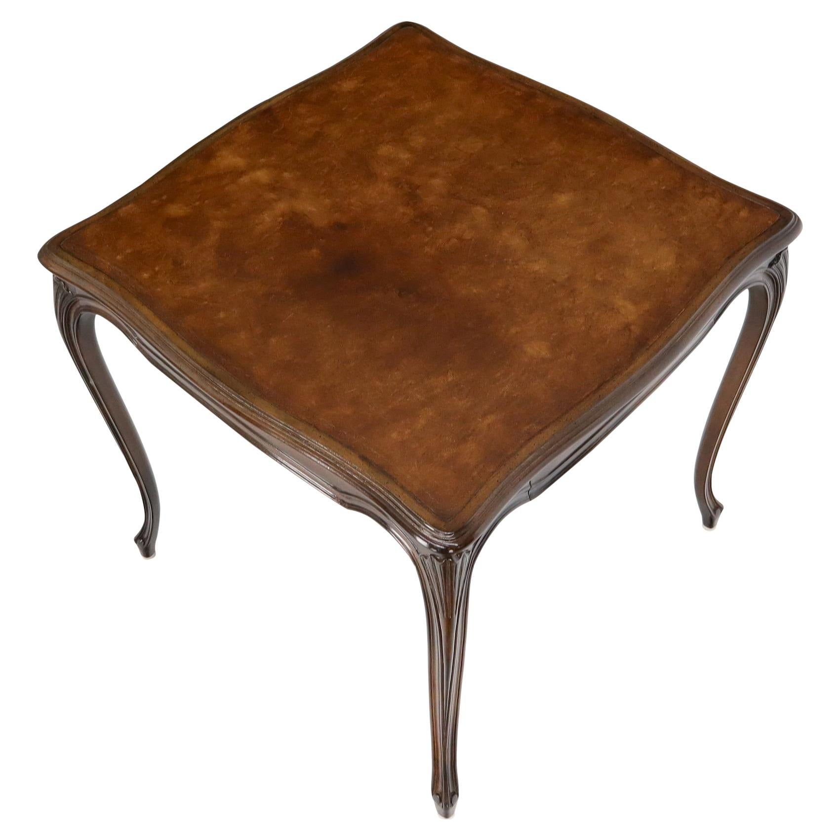 Square Leather Top French Provincial Cabriole Leg One Drawer Game Dinette Table