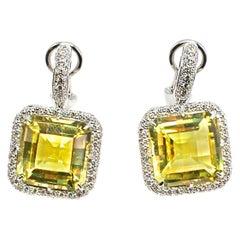 Square Lemon Citrine Diamond 18 Karat White Gold Earrings