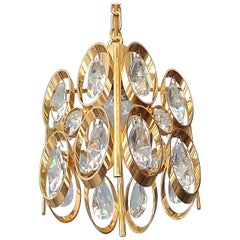 Square Lobmeyr or Palwa Pendant Lamp Gilt Brass Faceted Crystal Glass, 1960s