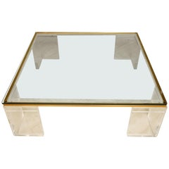 Square Lucite and Brass Cocktail Table