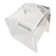 Square Lucite Barware Ice Bucket with Lucite Lid and Lucite Handle