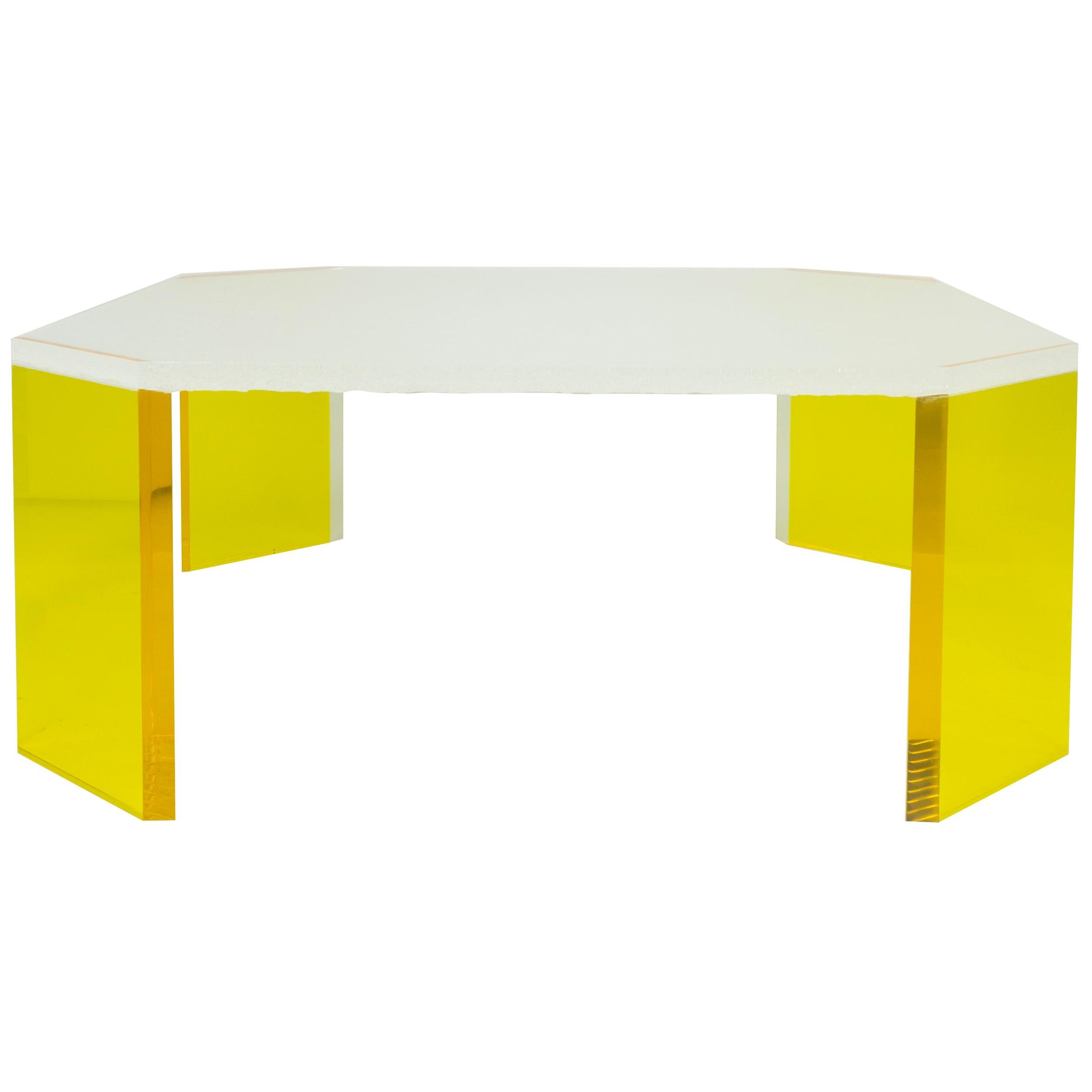 Square Lucite Coffee Table with Crystallized Effect