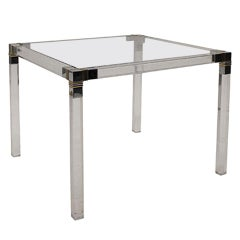 Square Lucite Side Table with Chrome and Brass Detailing
