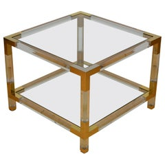Square Lucite with Brass Coffee Table, 1970s