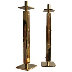 Square Luxury Candlesticks Italian Design 1960s Solid Brass Brutalist Gold