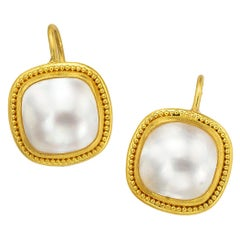 Square Mabe Pearl Earrings with 22 Karat Gold Granulation