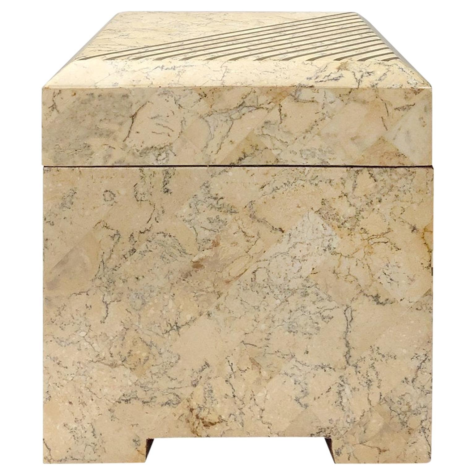 Square Maitland Smith Tessellated Stone Box with Brass Inlay
