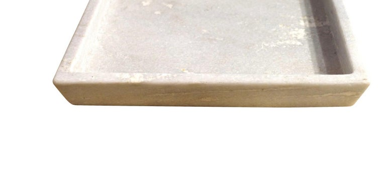 Contemporary square marble tray with small raised lip Two available.
