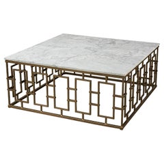 Square Mid Century Marble Top Coffee Table